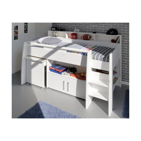 lit combin sur lev avec bureau et rangement int gr s 1 personne parisot swan blanc vue 1. Black Bedroom Furniture Sets. Home Design Ideas