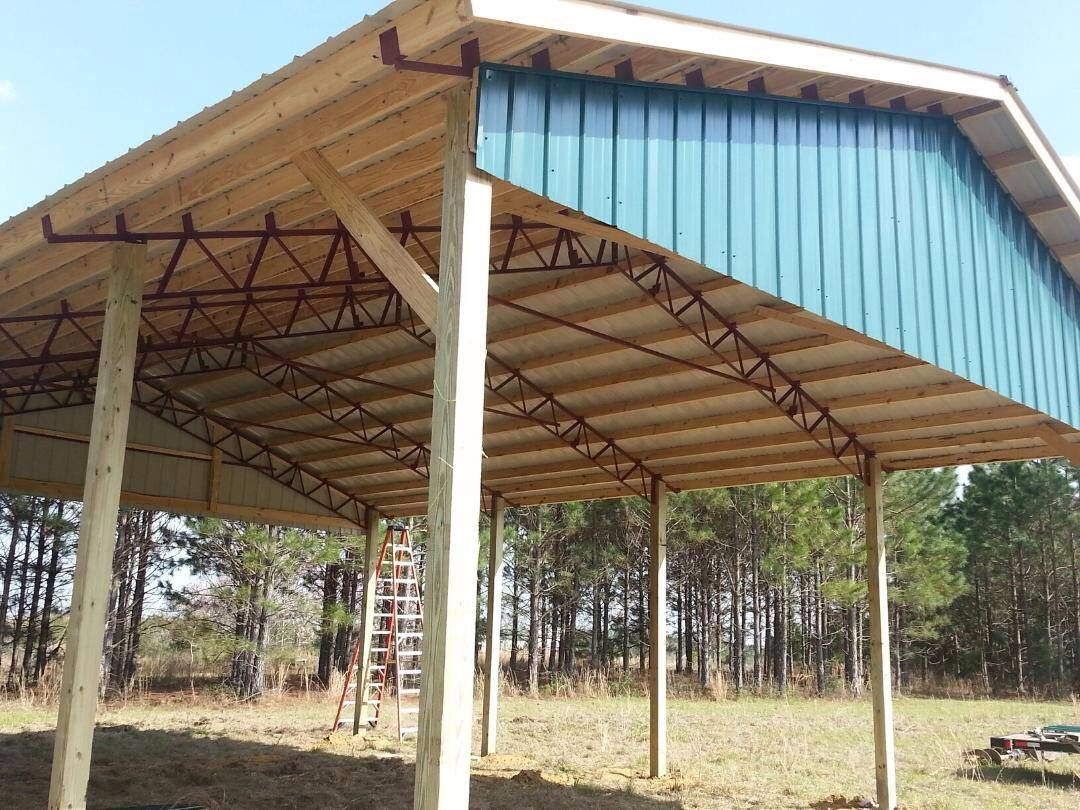 Pole barn metal truss system barns and garages for Metal pole building plans