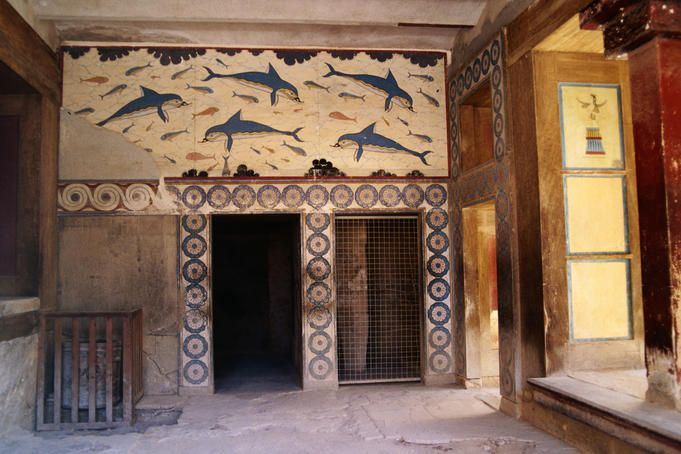 Dolphin mural in knossos palace crete favorite places for Dolphin mural knossos
