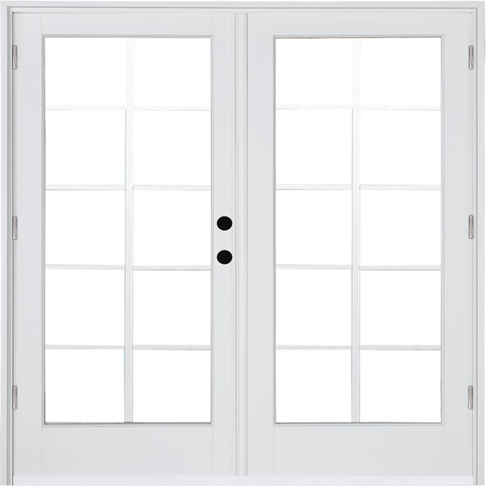 Mp Doors 60 In X 80 In Fiberglass Smooth White Left Hand Outswing Hinged Patio Door With 10 Lite Gbg Ht5068l002w2 The Home Depot Patio Doors French Doors Patio Hinged Patio Doors