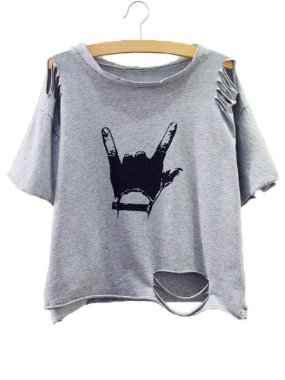 4fcdb8606 Camiseta estampado gesto con roturas - gris