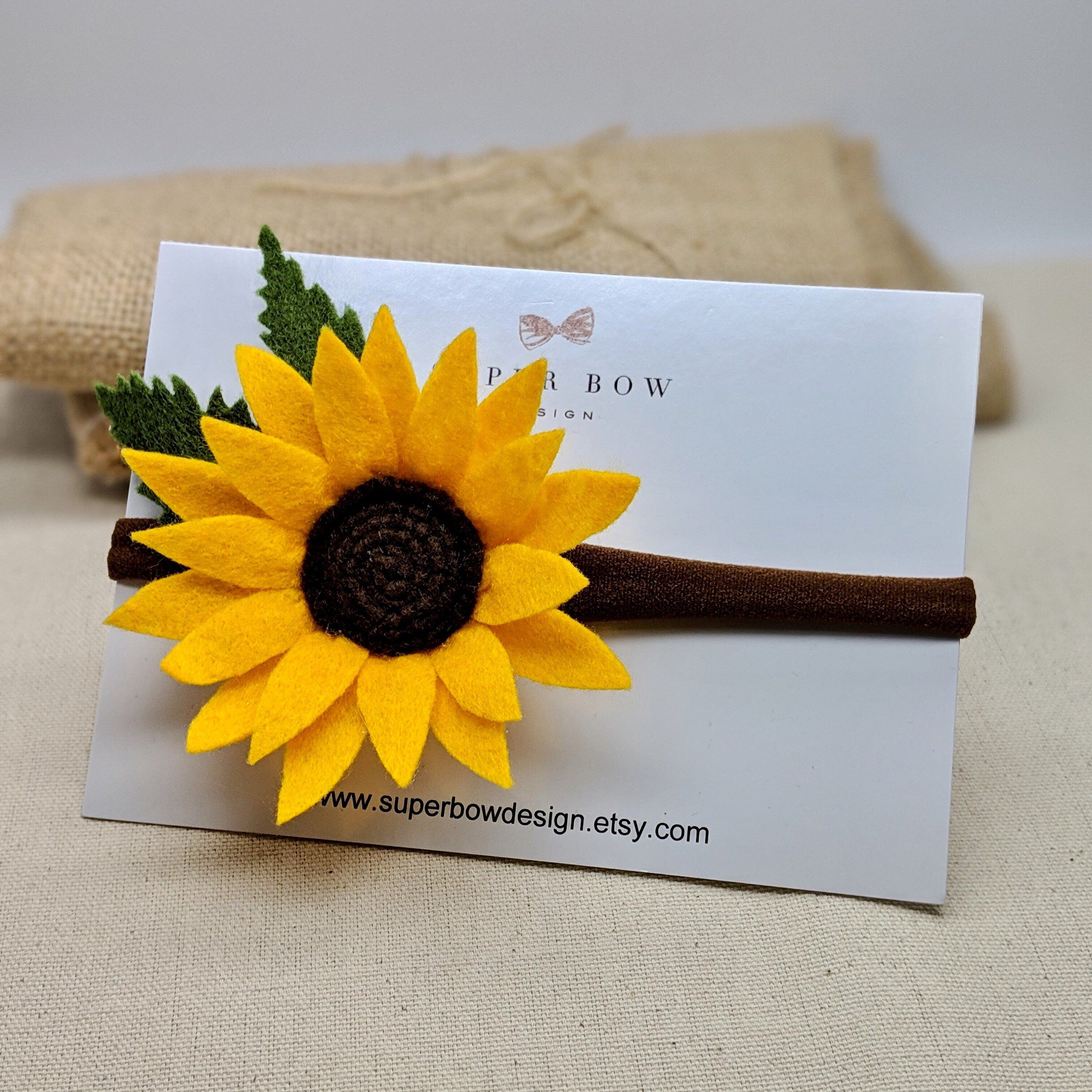 Sunflower Flower Baby Headband, Felt Sunflower Headband, Nylon Nude Headband with Orange Yellow Flower, Girl Hair Accessories