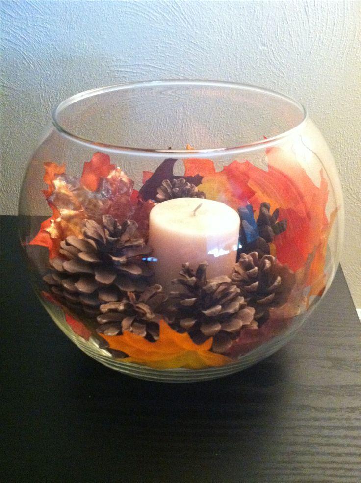 Tolle DIY Dekoidee für die Hochzeit im Herbst: Einfach eine Kerze in ein Goldfi... #thanksgivingdecor