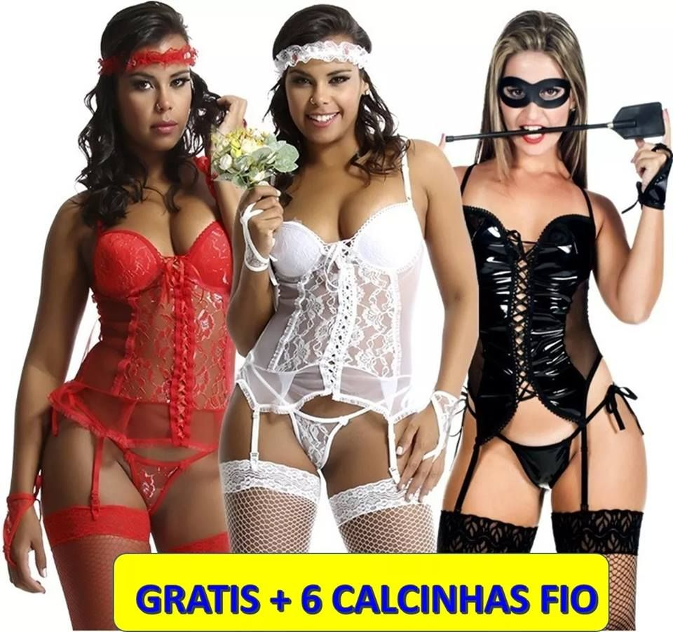 62f7ea617 Espartilhos Sexys Espartilho Kit 3 Em 1 Cinta Liga E Meias Kit Lingerie  Espartilho Fantasia Erotica
