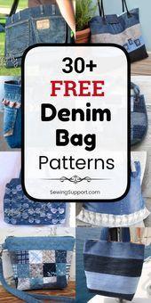 Photo of Free Denim Bag Patterns Denim Bag DIY. Over 30 free jeans pockets and …