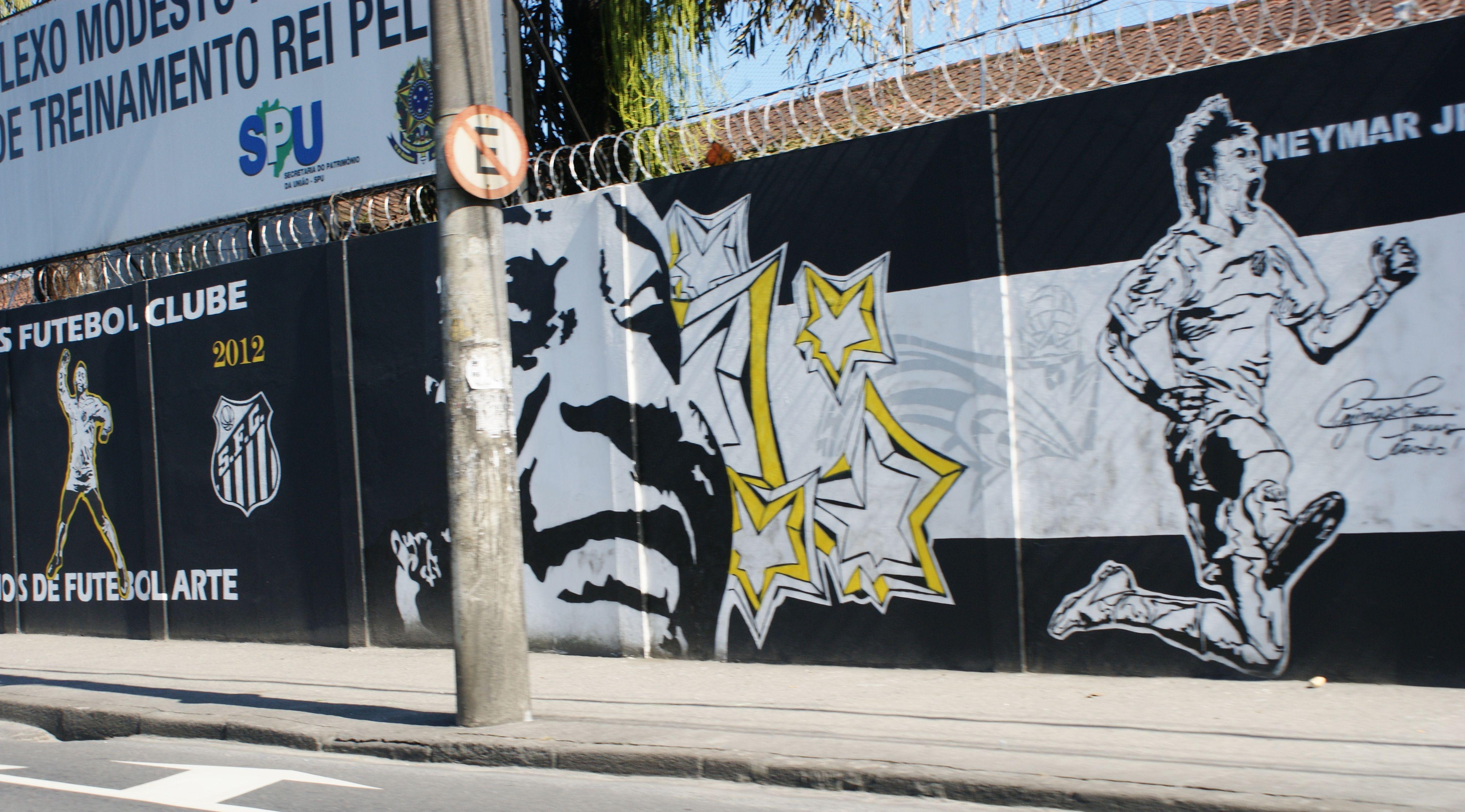 Mural Stadium Graffiti Famous Soccer Football Players Pele And Neymar