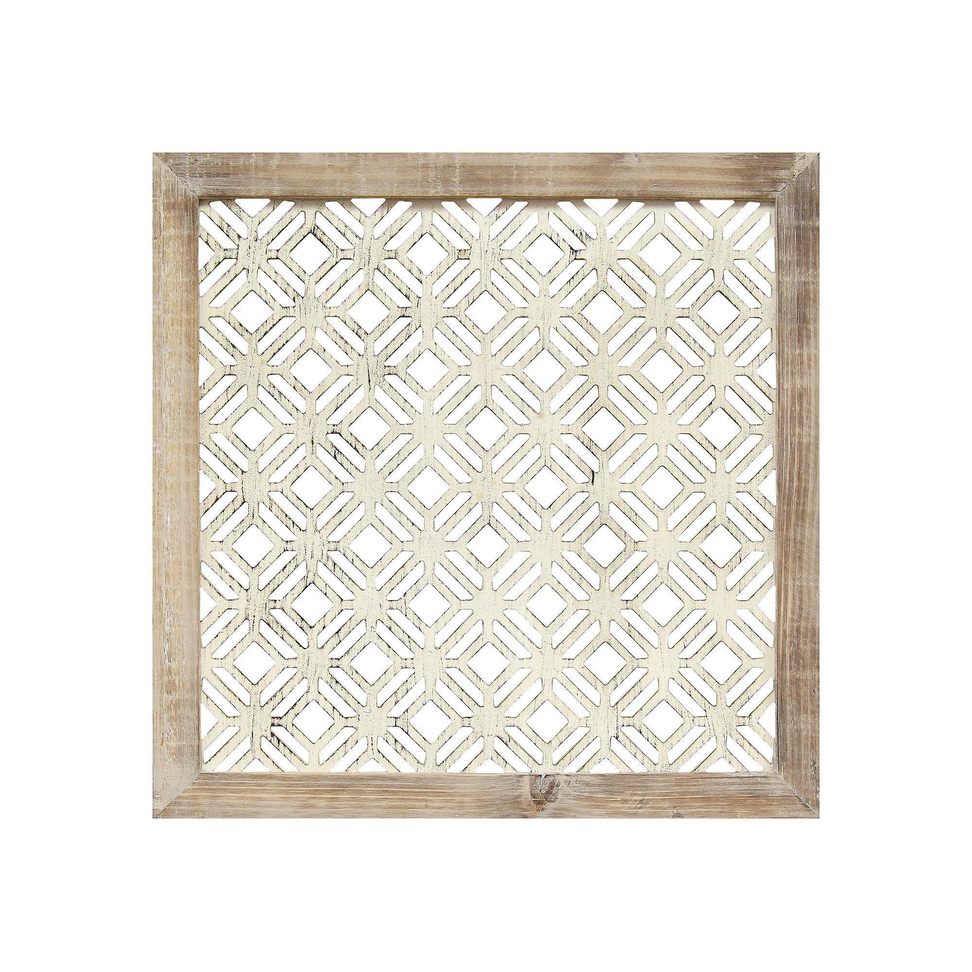 Stratton Home Decor Distressed White Geometric Wall Decor Frame Wall Decor Frames On Wall Wood Wall Decor