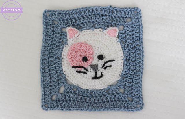 Piastrella uncinetto con gattino u schema cucito creativo