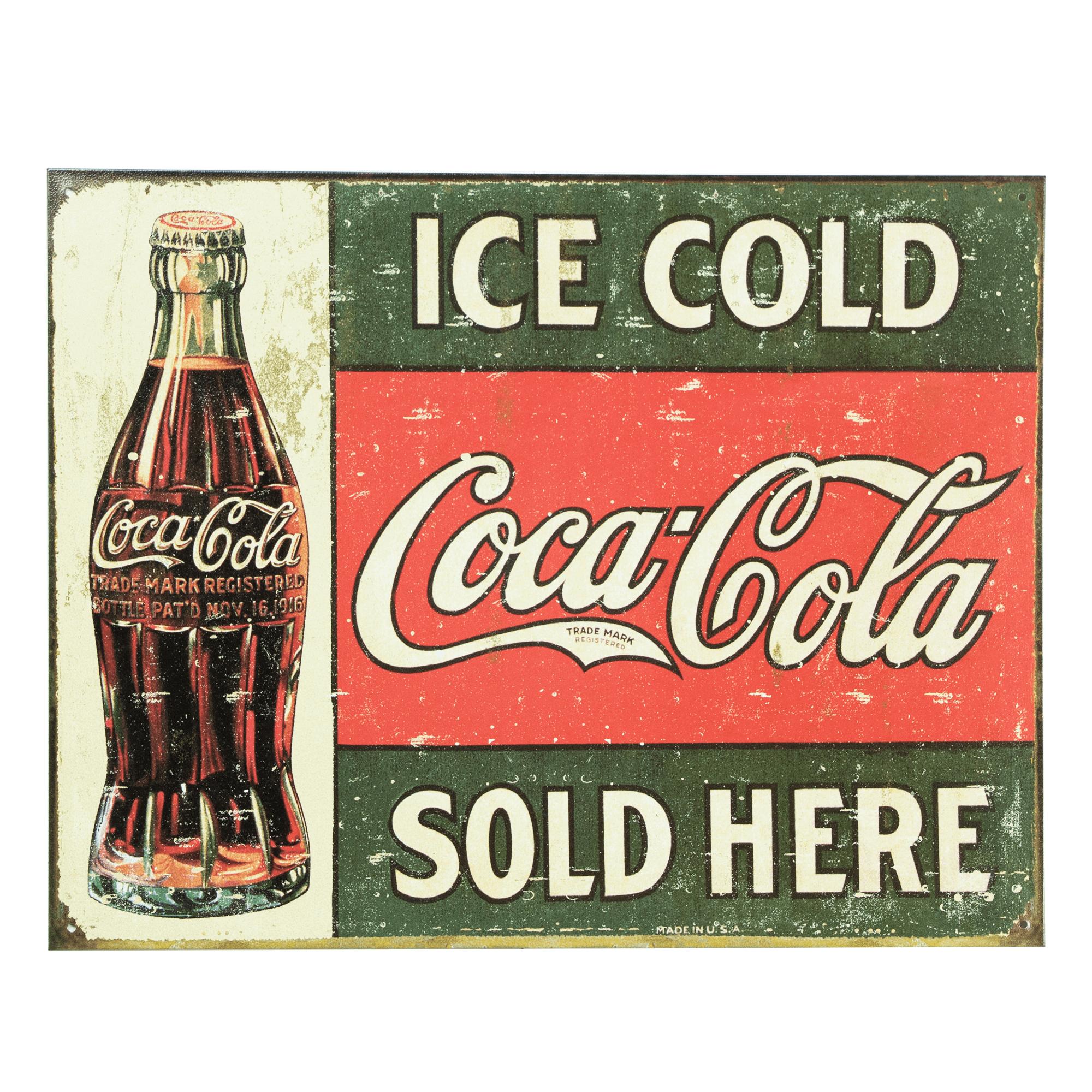 Coca Cola Coke Bottle Round Advertising Vintage Retro Style Metal Tin Sign New