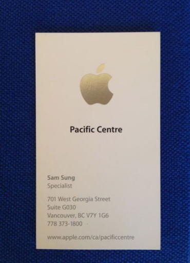 Sam Sung Raises Big Bucks From His Time At Apple Google Business Card Business Cards Collection Cards