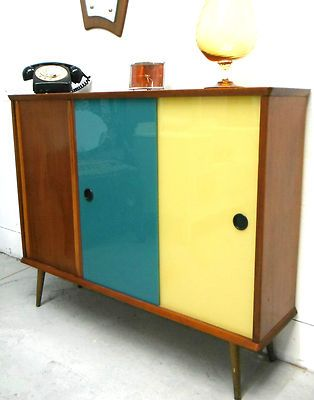 Retro Vintage Bookcase Sideboard Coloured Glass Doors Teak 60 S 70 S Mid Century Vintage Bookcase Retro Furniture Makeover Modern Retro Furniture