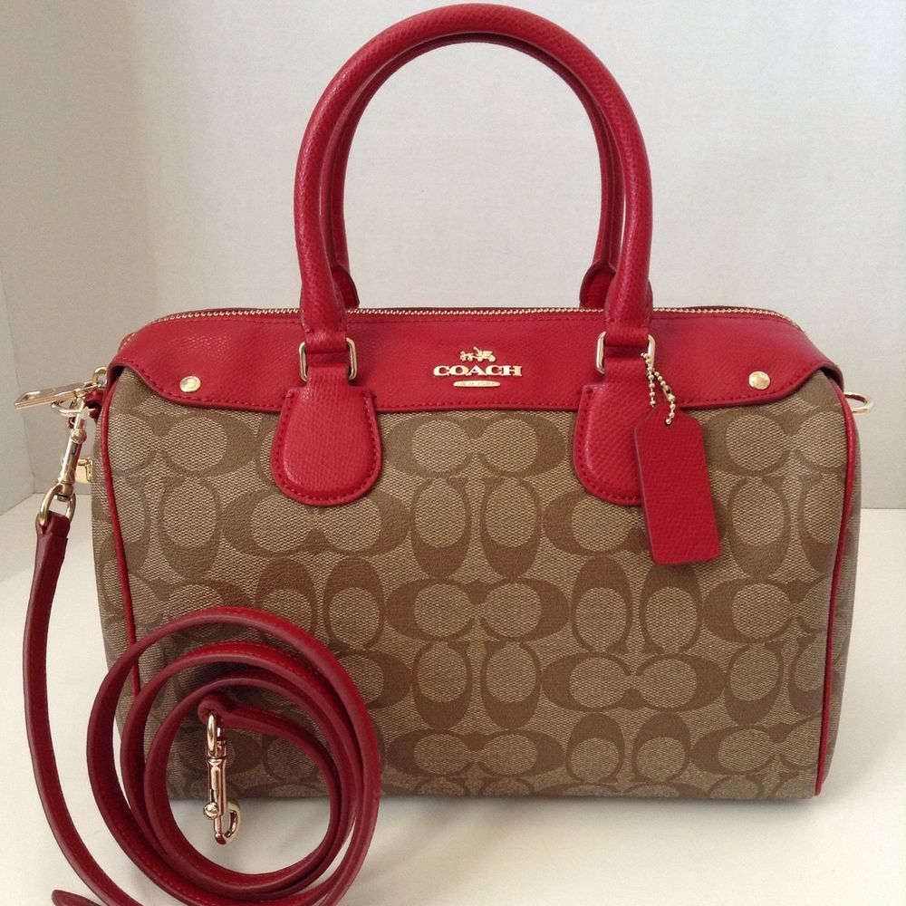 0a2347428a Coach F36187 Bennett Signature Satchel not Mini Khaki Classic Red $425 |  eBay