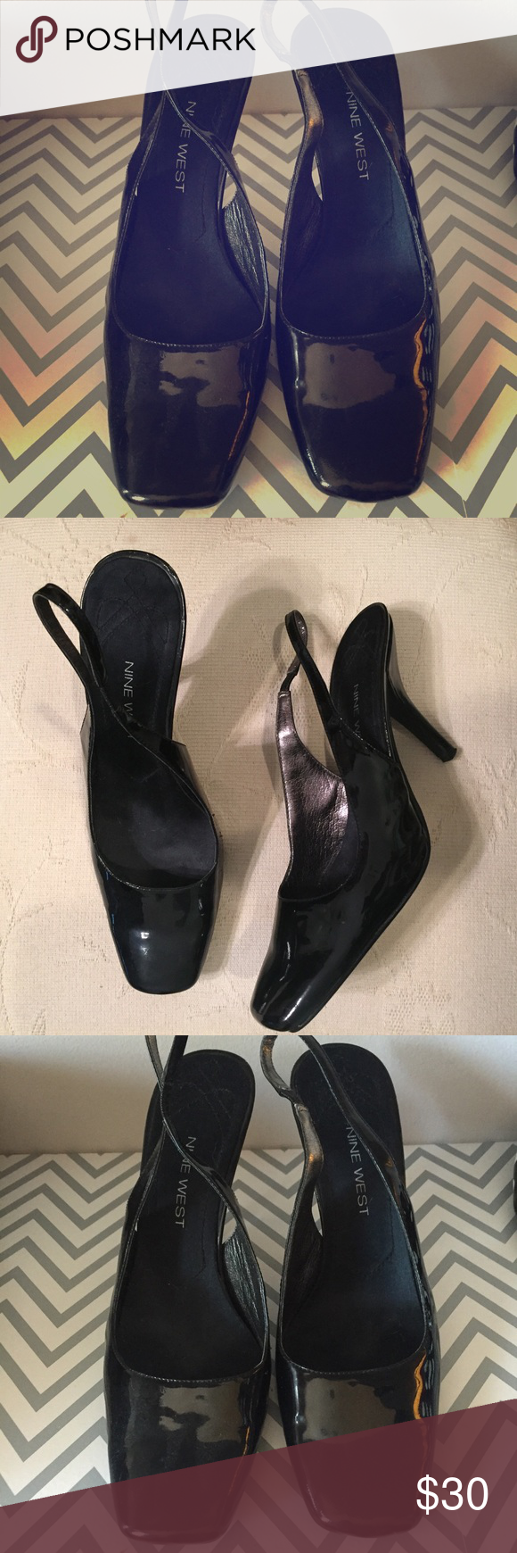 Nine West Black Patent Leather Slingback Pumps Black patent leather slingback pumps. Perfect for the working gal or parties! Nine West Shoes Heels