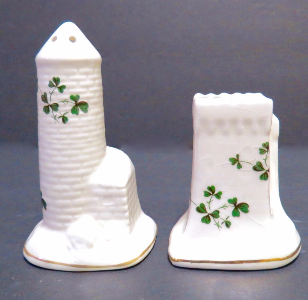 carrigaline pottery salt & pepper shakers cork ireland shamrock