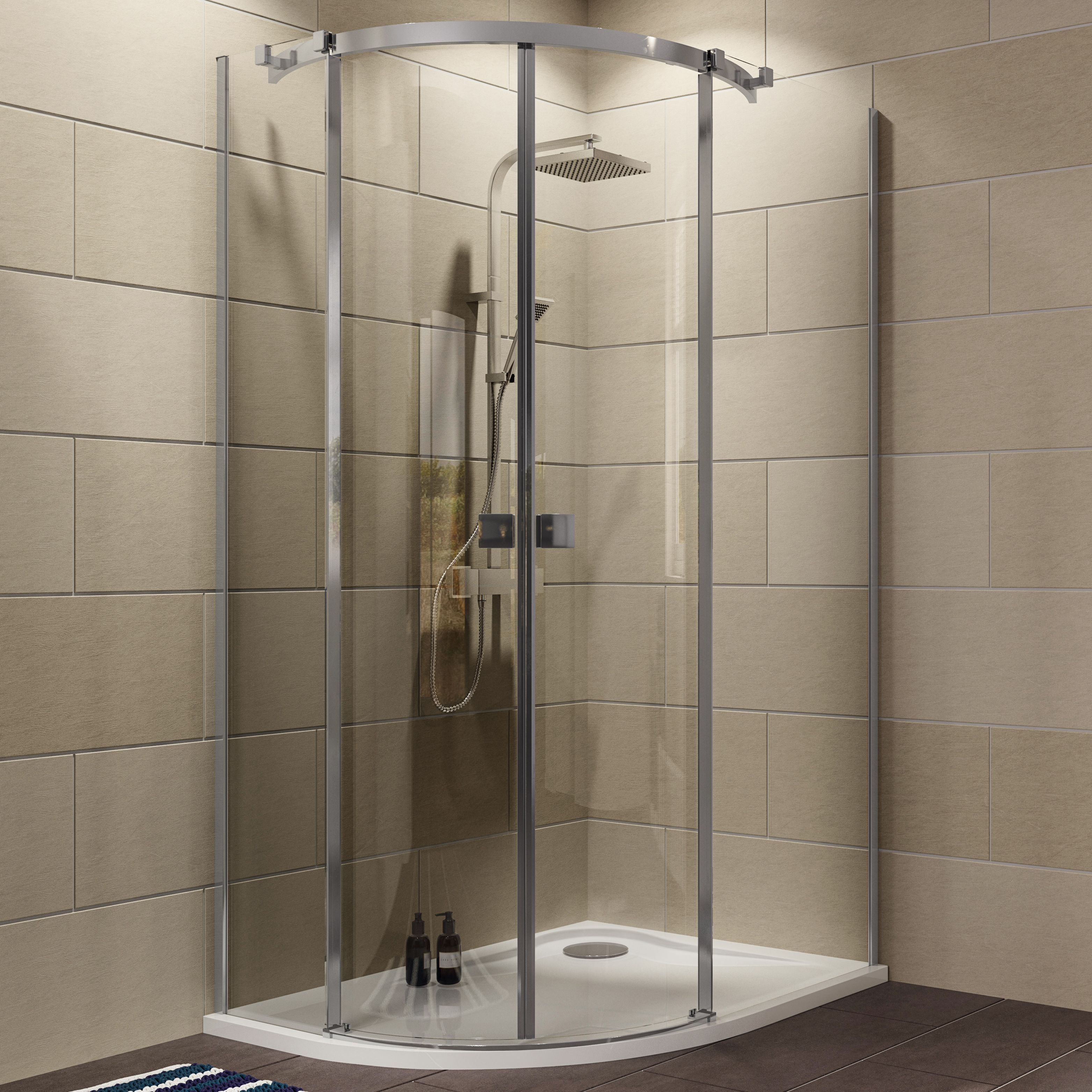 Cooke & Lewis Luxuriant Offset Quadrant Shower Enclosure with Double ...