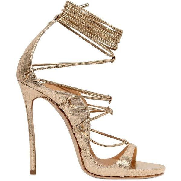 2a77acb2e Dsquared2 Women 120mm Elaphe Snakeskin Lace-up Sandals ( 1