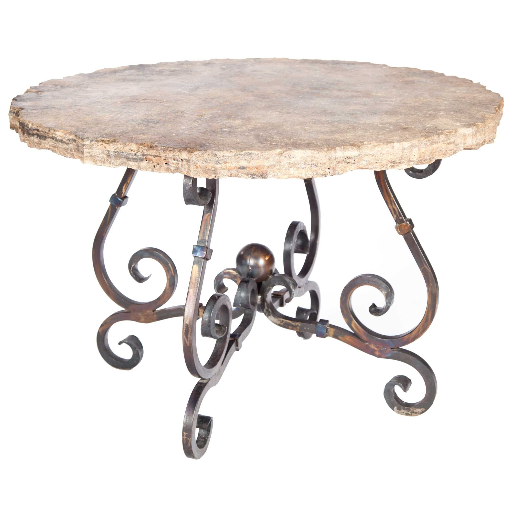 Pictured Here Is The French Dining Table With Wrought Iron Base And 48 Round Marble Table Top French Iron Dining Table Dining Table Round Marble Table