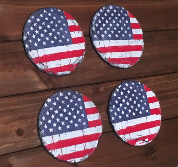 d052a605545 United States American Flag Slate Coaster Set by VioletValerian ...
