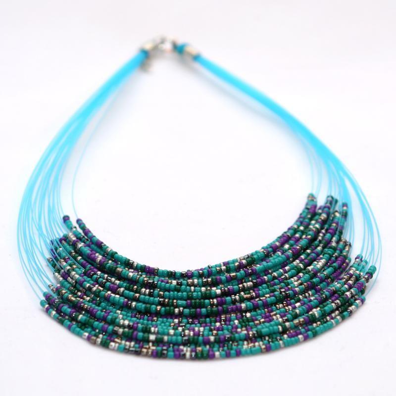 collier multi rangs nylon et perles de rocaille bleu | j'aime mais