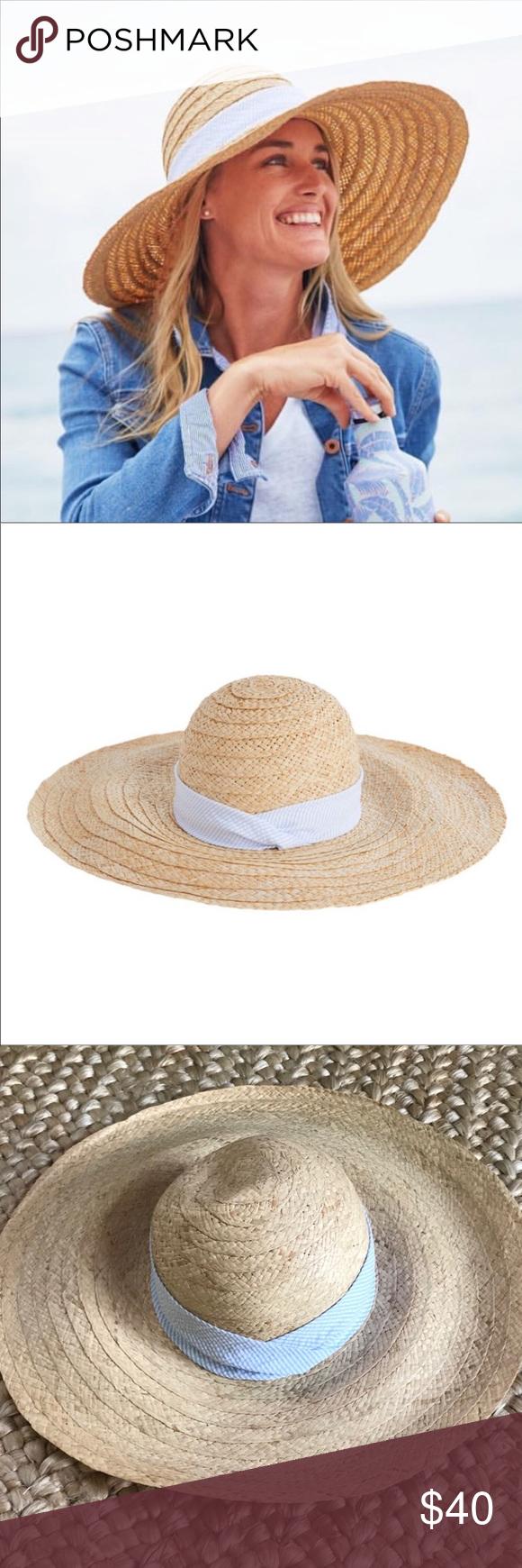 Vineyard Vines Straw Beach Hat W Seersucker Band Beach Hat Straw Hat Beach Seersucker