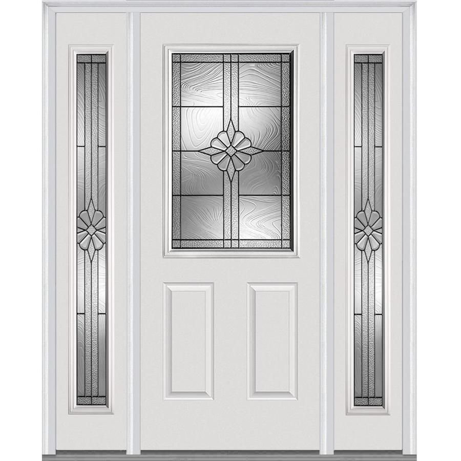 Mmi Door Half Lite Decorative Glass Left Hand Inswing Primed Steel Prehung Entry Door With Sidelights And Insulating Core Common 64 In X 80 In Actual 68 5 I Mmi Door Front Entry Doors Steel Entry