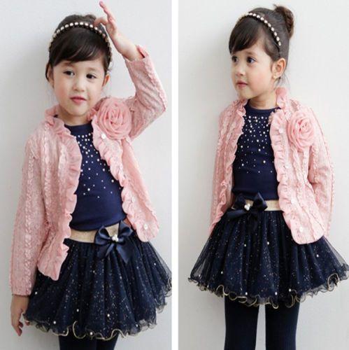 UK Toddler Kids Baby Girls Long Sleeve Outfits Clothes T-shirt Tops Skirt Dress