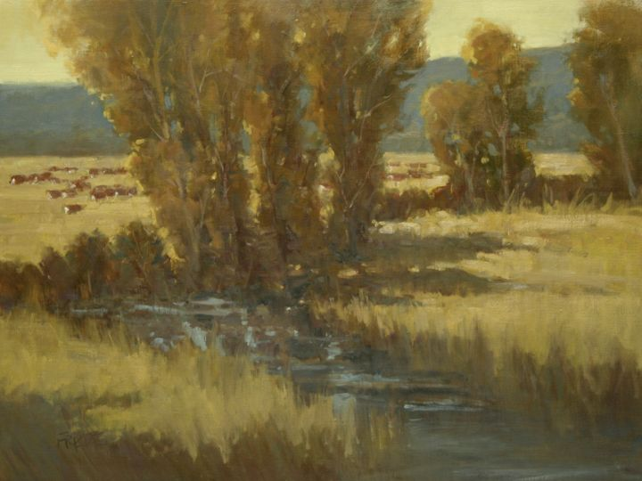 """Autumn Pastures"" Paula Frizbe 30"" x 40"" Oil #autumn #fall #cow #cows #rural #country #farm #art #artwork #paint #painting #artist #oil #oilpainting #gallery #braziergallery #paulafrizbe"