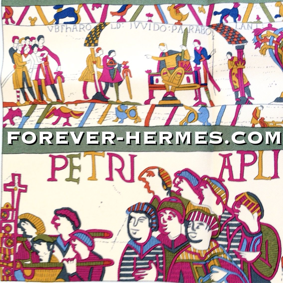 In our store http://forever-hermes.com #ForeverHermes is this Hermes Paris couture silk scarf titled A La Gloire De Guillaume designed by Philippe Ledoux featuring the Norman King of England William The Conqueror who built a large fleet and defeated King Harold as depicted in the #BayeuxTapestry  the #BattleOfHastings and extended his kingdom #Normandy  #dapper #history buff #gentleman #necktie #WallDecor #menswear #mensfashion #mensstyle #womensfashion #womenswear #Hermes #HermesCarre…