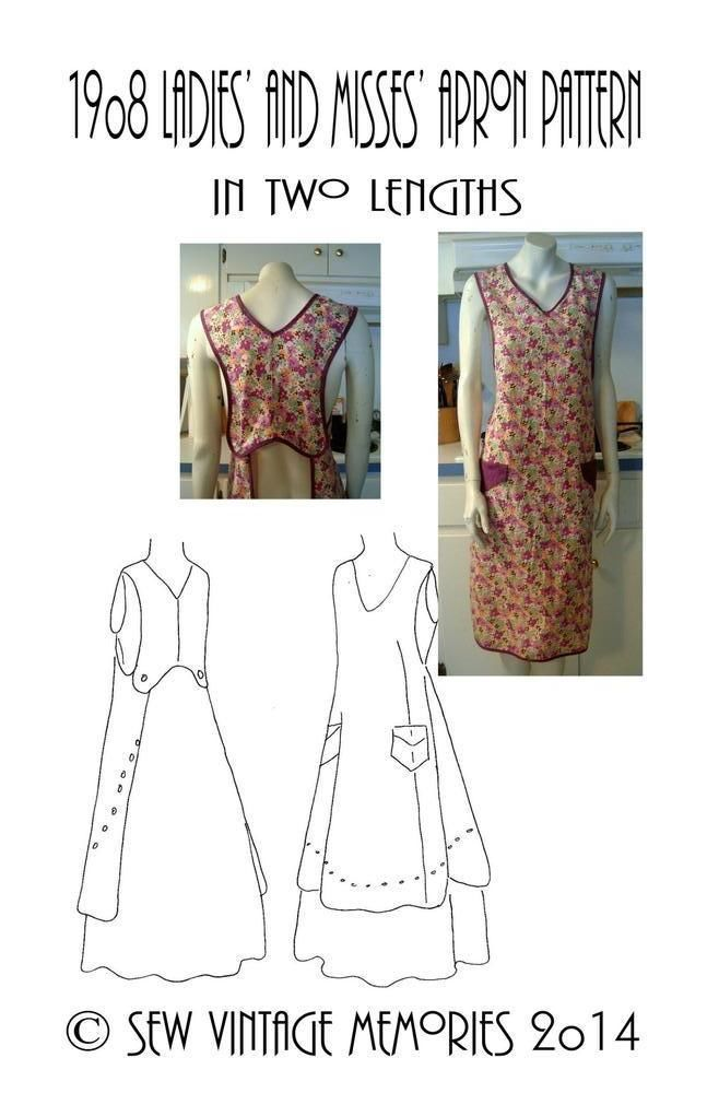Vintage 1908 Apron Pattern Pellon Copy Size Small Two Lengths Easy ...
