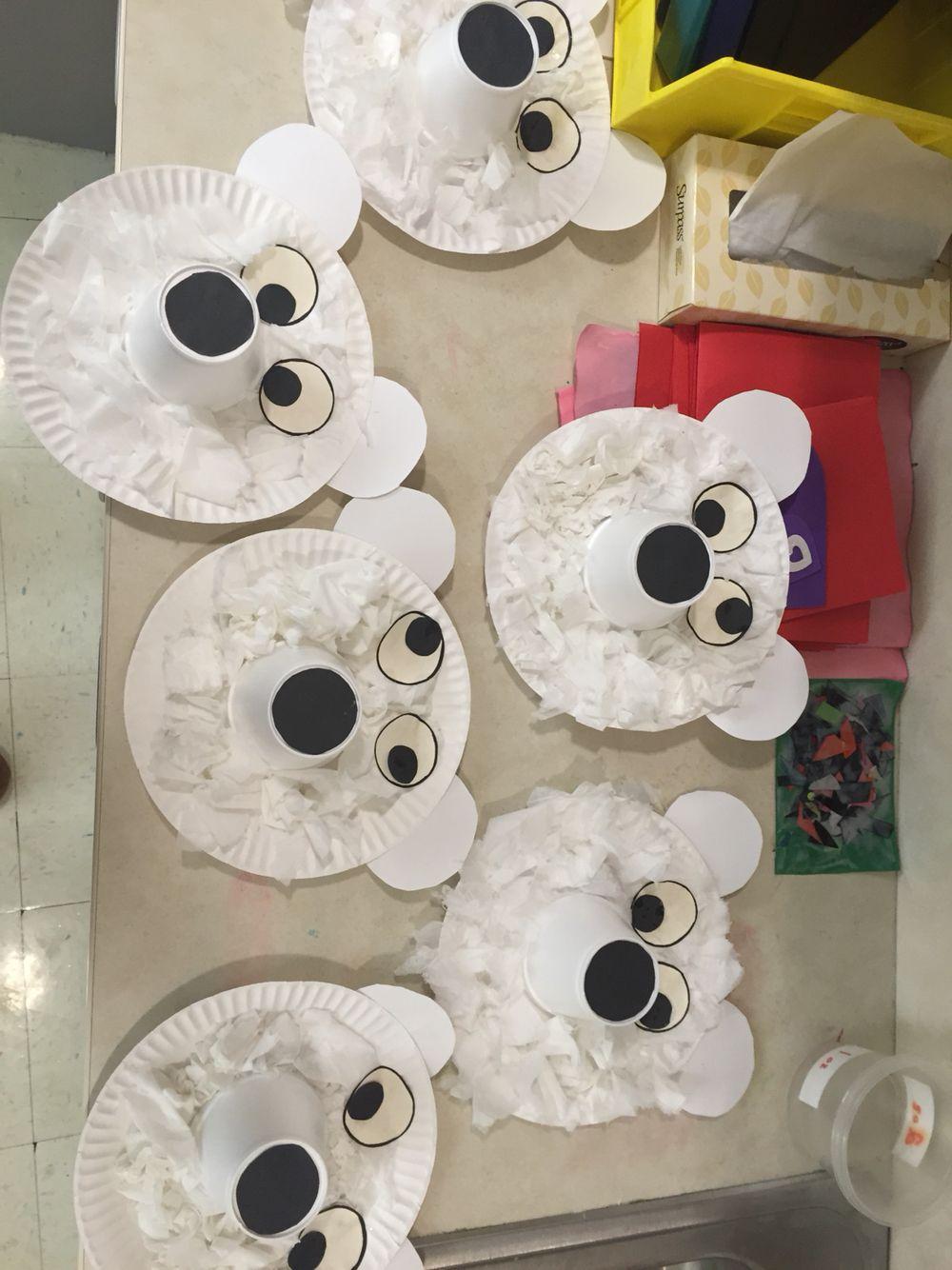 Tissue paper polar bears...paper plates...tissue paper. & Tissue paper polar bears...paper plates...tissue paper...styrofoam ...