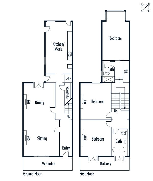 48 st vincent place albert park north floor plan victorian terrace 600 711 pixels Victorian kitchen design layout