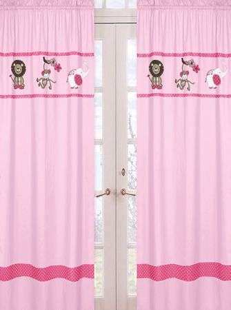 Jungle Animal Curtains In Pink And Green Cute For A S Safari Nursery