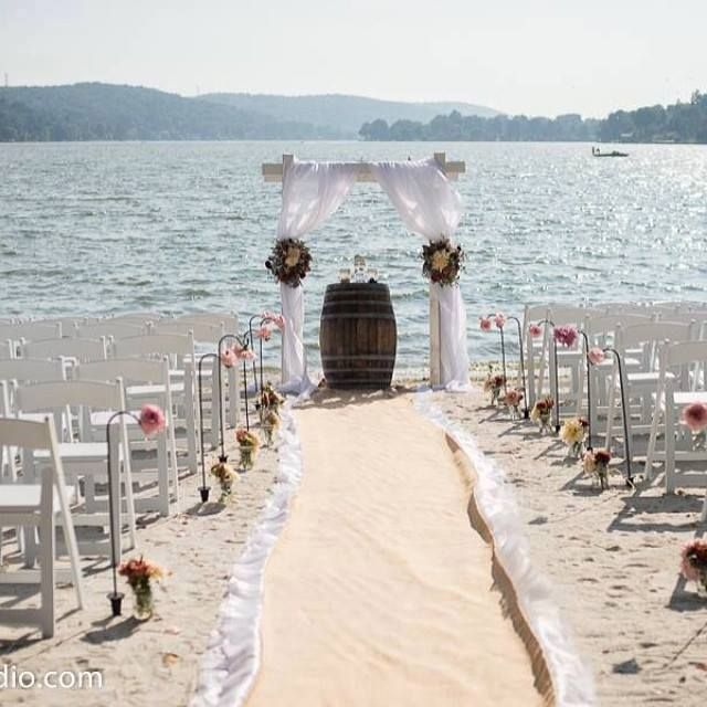 A Beach Wedding Set On The Shore Of Lake Mohawk Featuring A