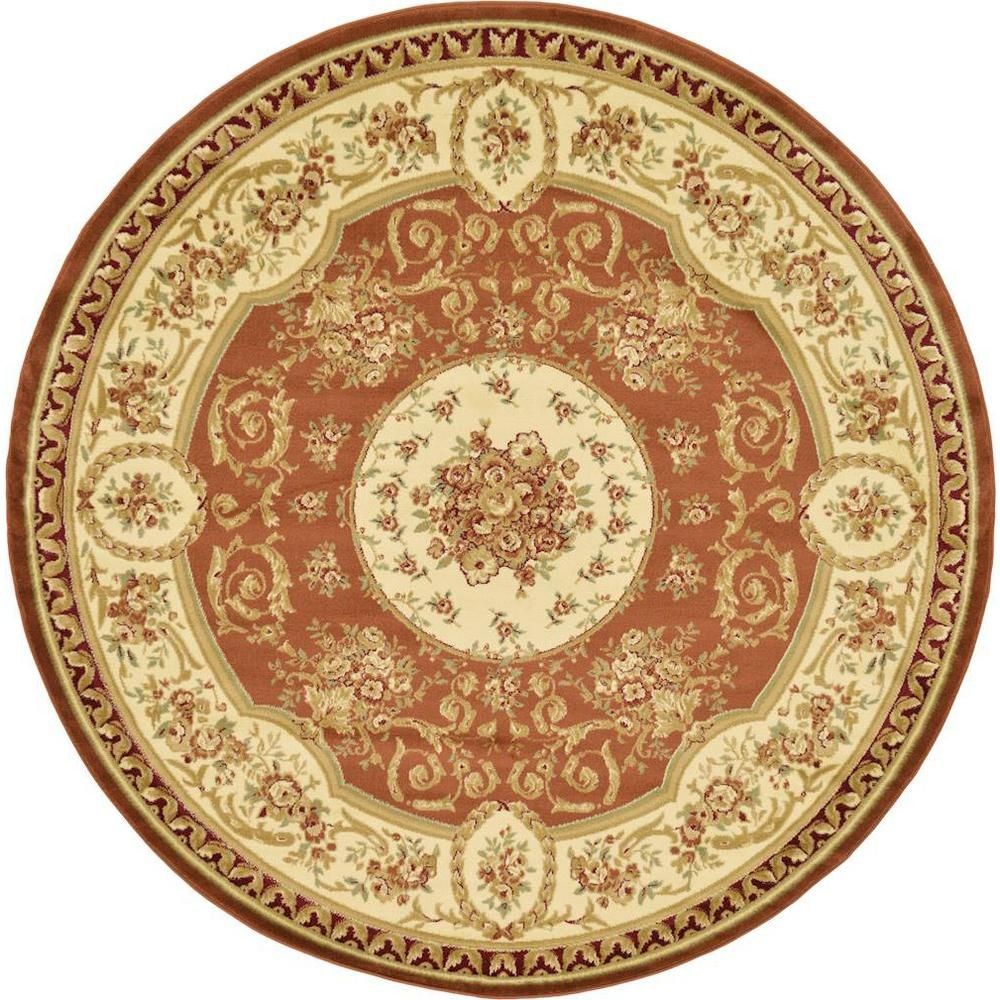 Unique Loom Versailles Brick Red 8 Ft. X 8 Ft. Round Area Rug 3124712   The  Home Depot