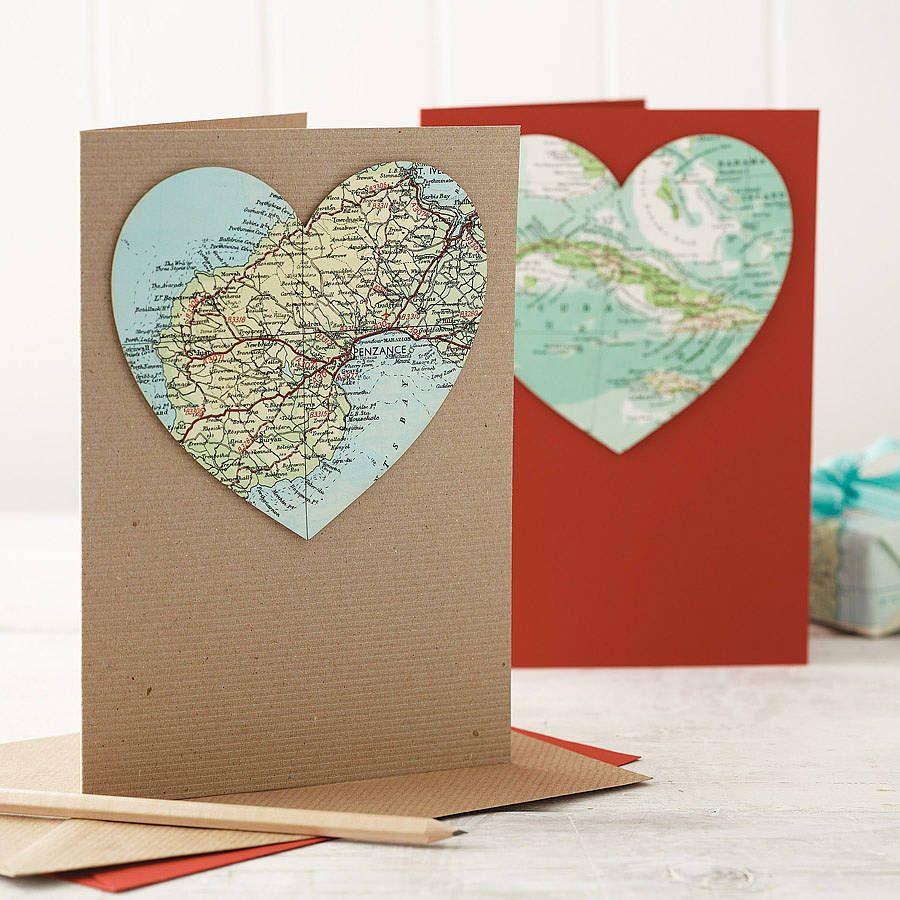 map heart card | Card Ideas | Pinterest | Heart cards, Cards and ...