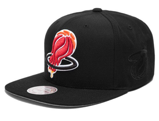 46ae883987515 Upside Down Miami Heat Snapback Cap by HALL OF FAME x MITCHELL   NESS x NBA