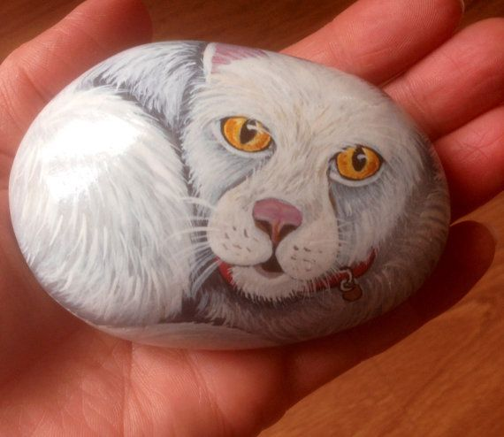 Cat hand painted on rock by Cobblecreatures on Etsy