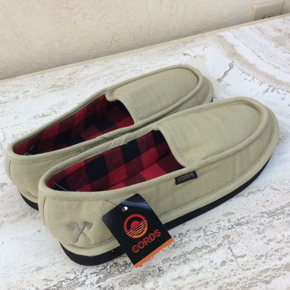 90237a3af7864 MEN'S GUYS Cords Draper Khaki & Plaid Slippers NEW house Size XL 11-12 # CORDS #MoccasinSlippers