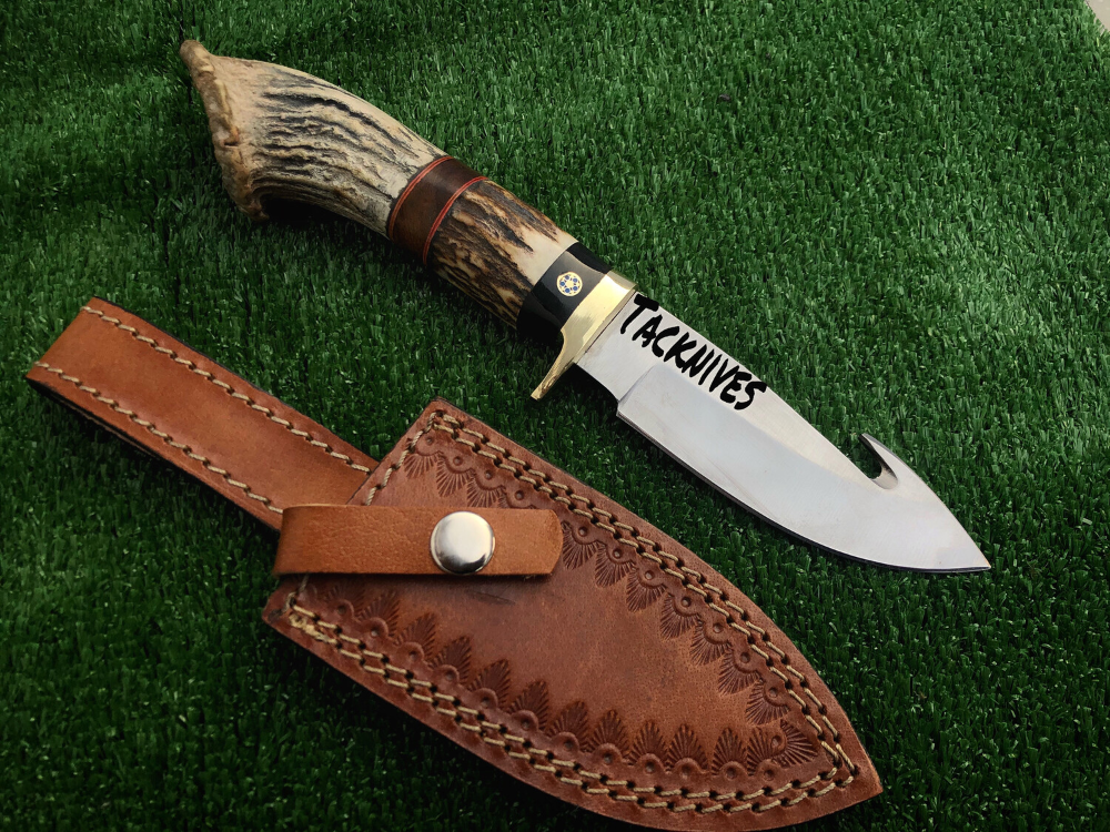 Steel Skinner Guthook Knife With Antler Handle Knife Bowie Knife Leather Sheath