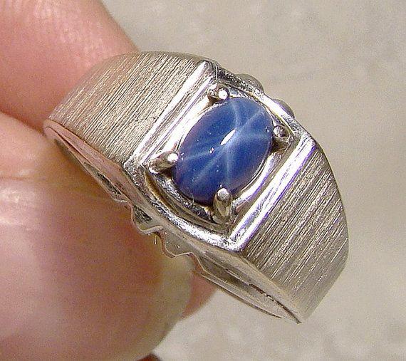 a7487a34f2a000 14K White Gold Genuine Blue Star Sapphire Ring 1960s 14 K Mens Blue Star  Sapphire Ring
