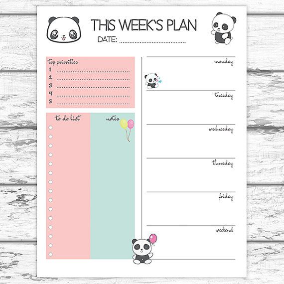 Panda Weekly Planner Printable Weekly Planner by LittleDigiStudio - agenda download free