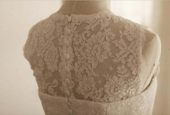 Vintage Inspired French Corded Lace Wedding Dress Outdoor Knee Length Short…