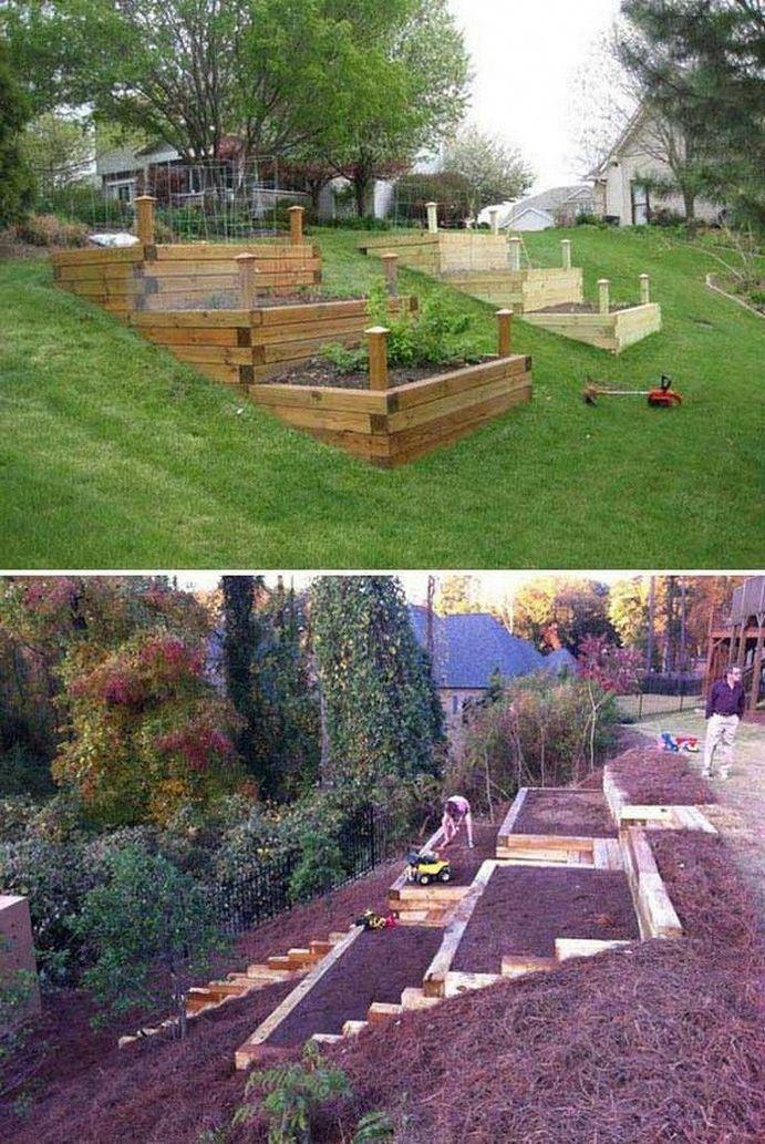 Sloped Garden Idea Between the spacious terrace and the ...