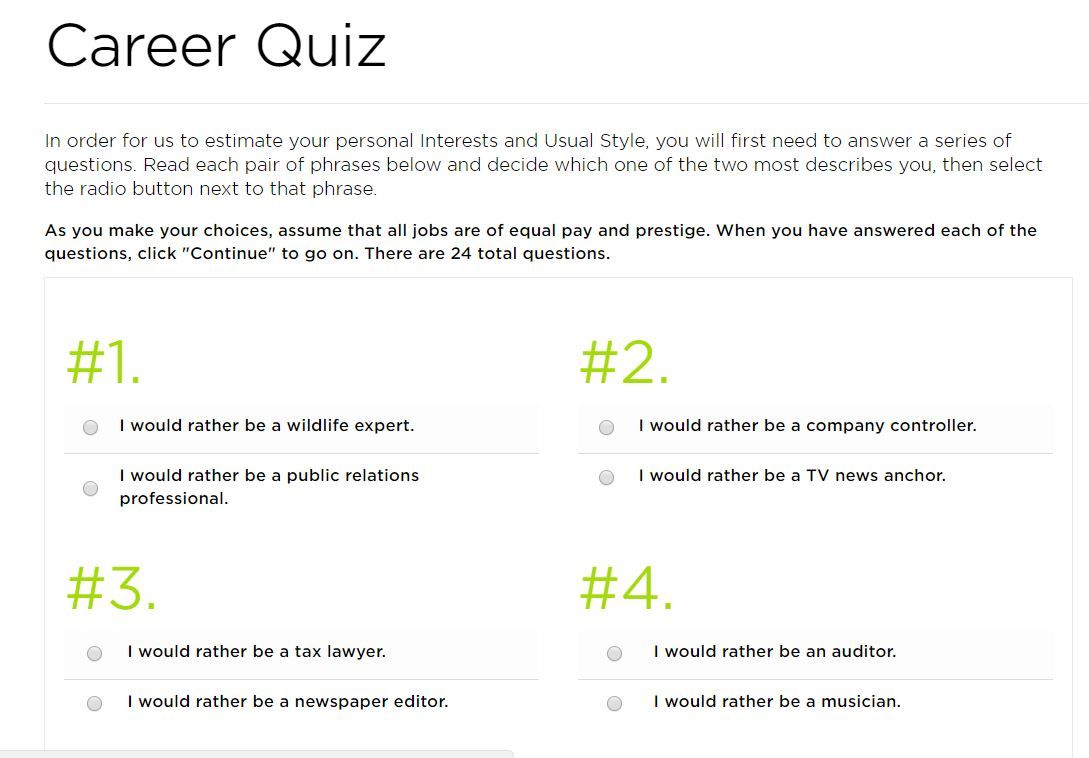 Career Quiz Career quiz, Career, Career assessment