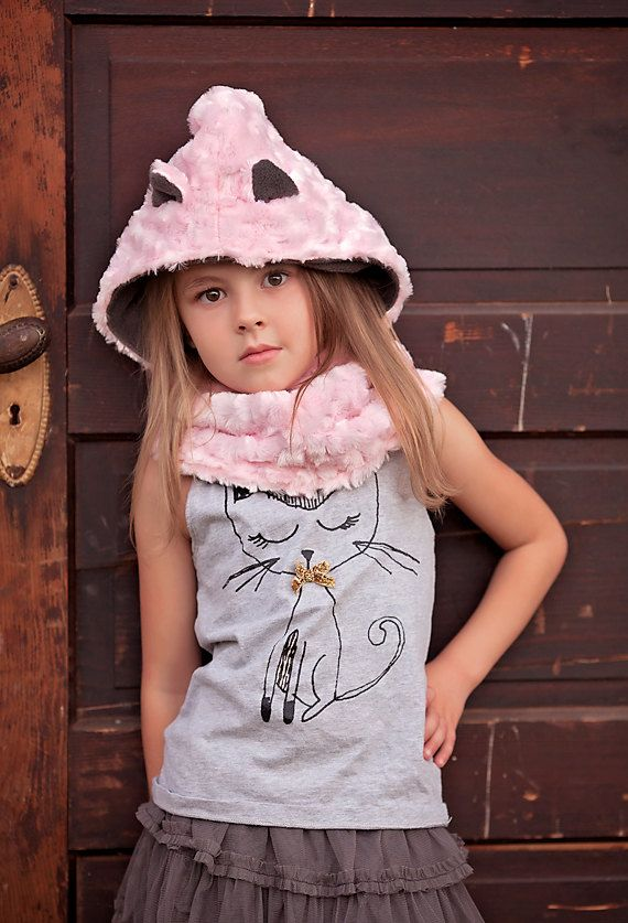 Faux Fur Cowl Girl's Cat Hooded Cowl Animal Hat by MondoRotondo