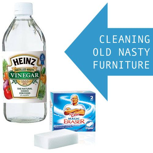 How To Clean Up Old Furniture U0026 Give It New Life With Vinegar And Magic  Erasers