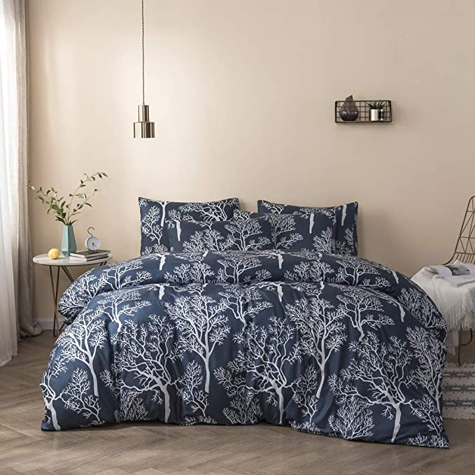 Amazon Com Mixinni Luxury Flowers Duvet Cover Queen Floral Pattern Blue Duvet Cover Set Garden Style Bedding Duvet Cover Sets Duvet Cover Pattern Duvet Covers