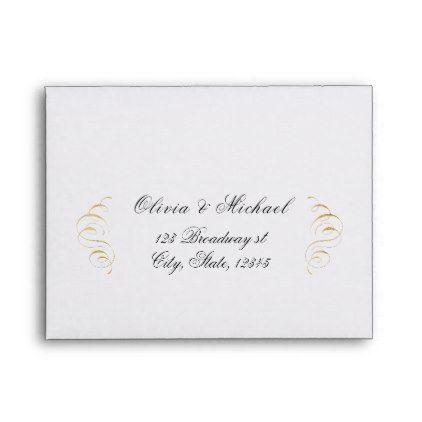 Elegant Flourish Calligraphy Vintage Wedding Rsvp Envelope Gold Gifts Customize Marriage Diy Unique Golden
