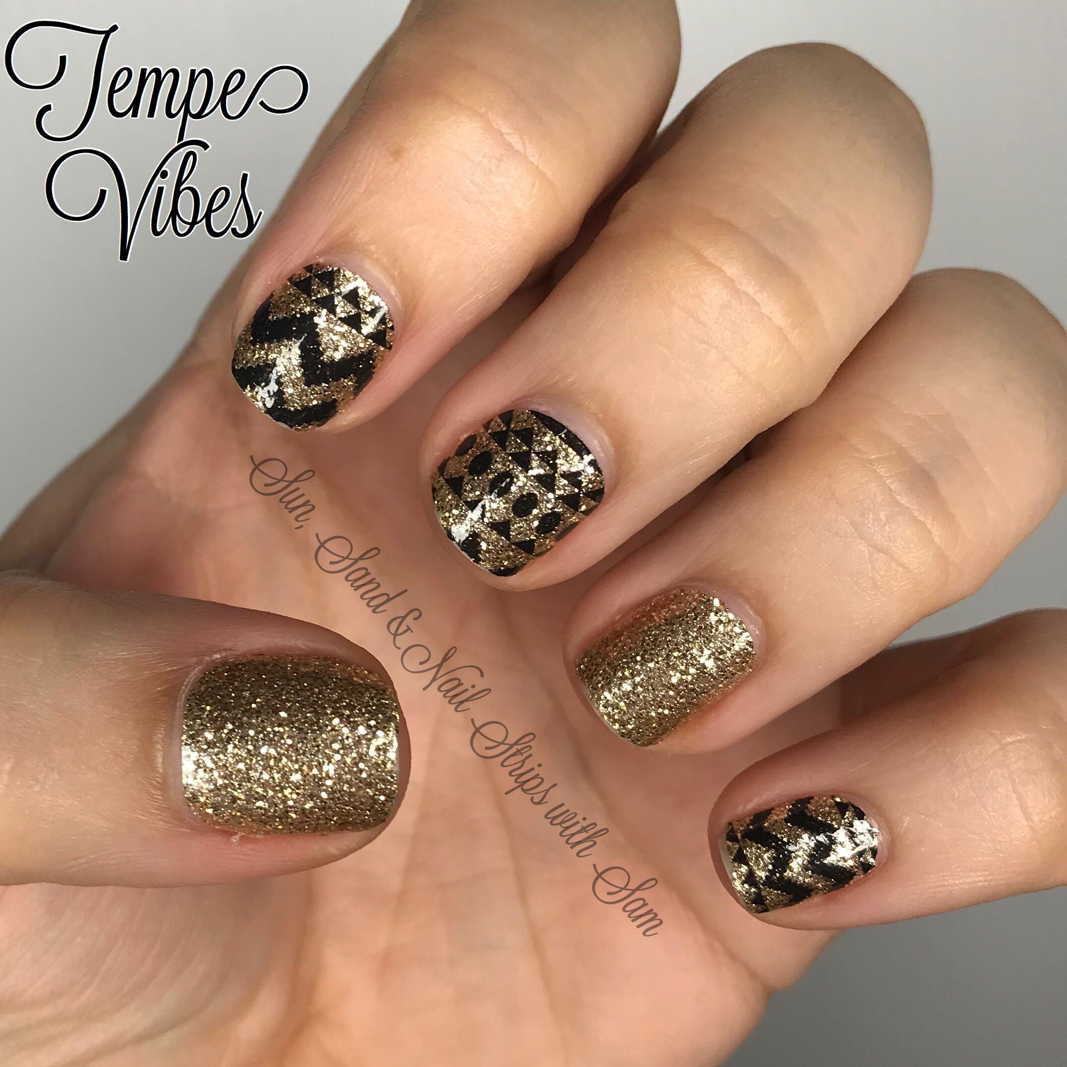 Tempe Vibes by Color Street - gold glitter with a black aztec print ...