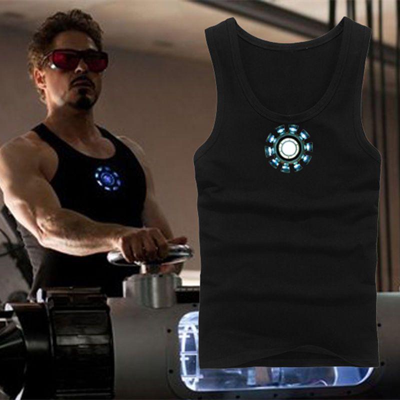 Marvel Iron Man3 Tony Stark Arc Reactor Luminous cosplay Tops Mens vest T-Shirt
